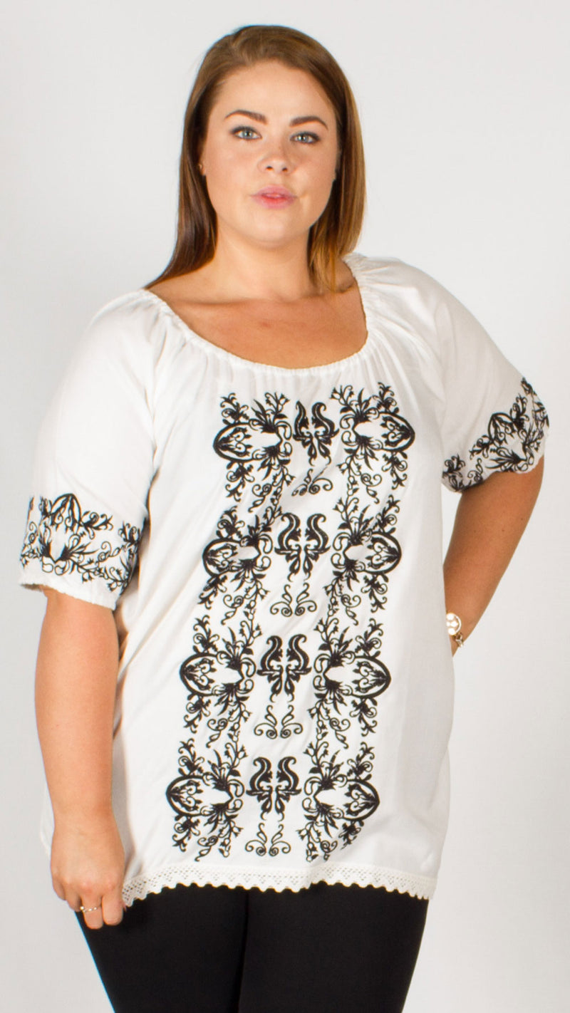 Manila Contrast Embroidered Gypsy Tunic