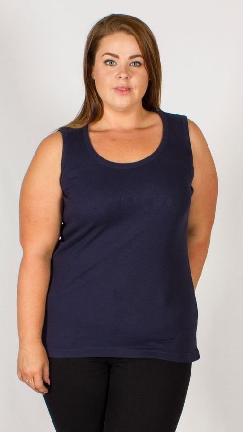 Navy Pure Cotton Ribbed Vest