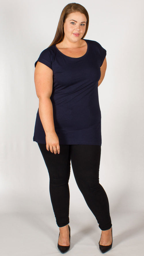Navy Blue Plain T-Shirt Top