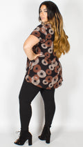 Morgan Fan Print Dip Hem Top Rust