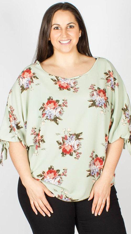 Leila Floral Split Sleeve Top Sage