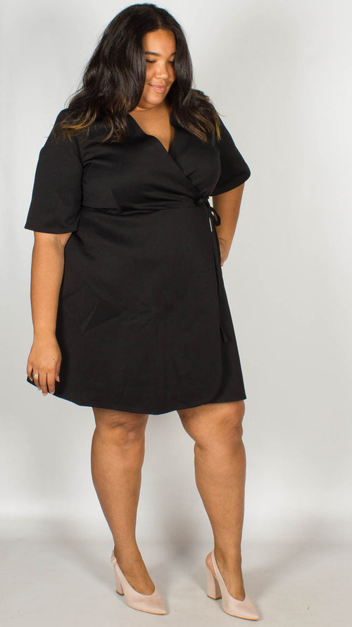 Reagan Black Wrap Skater Dress