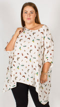 Animal Butterfly Mix Chiffon Sleeve Kimono Top