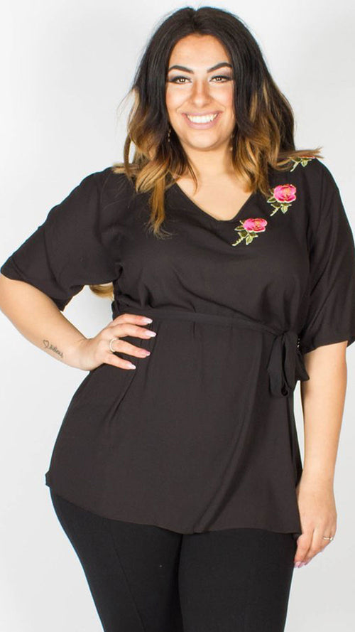 Sammy Black Kimono Top with Floral Applique