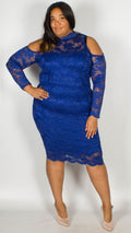 Ursula Premium Cold Shoulder Lace Midi Dress Blue