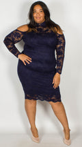 Ursula Premium Cold Shoulder Lace Midi Dress Navy