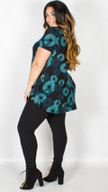 Morgan Fan Print Dip Hem Top Teal