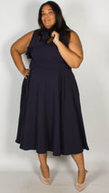 Ursa Premium Ruffle Shoulder Midi Dress Navy