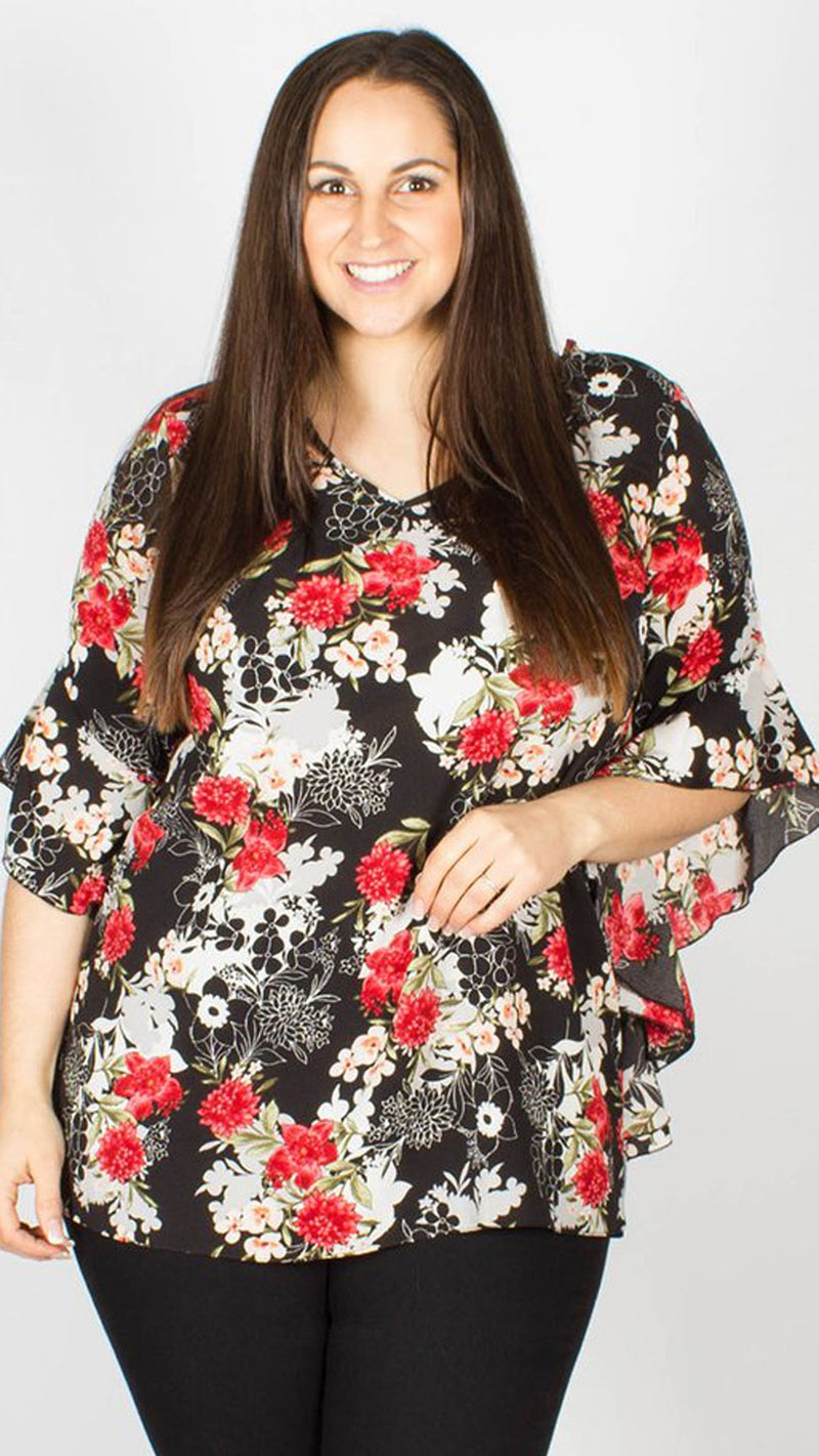 Annie Tie Back Frill Sleeve Floral Print Blouse