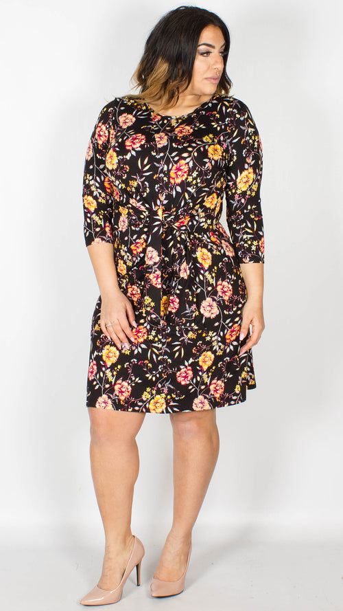 Kerrie Floral Print Tie Knot Dress