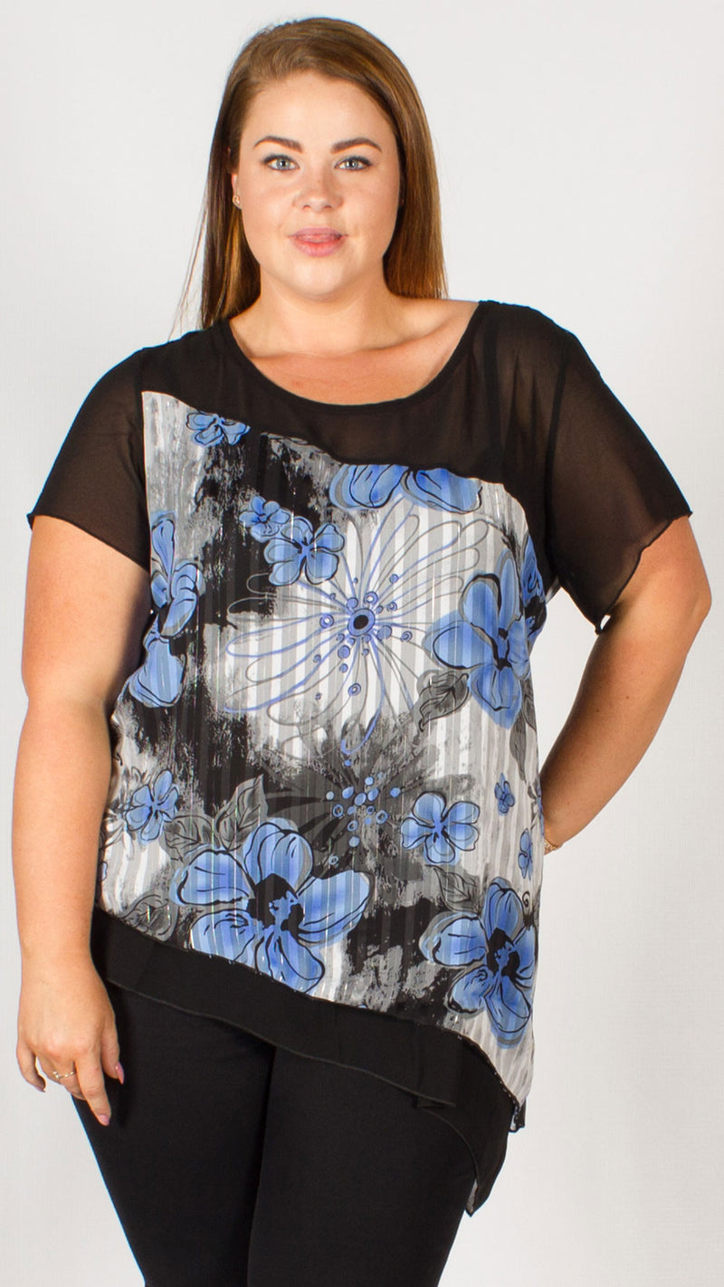 Selma Black/Blue Floral Asymmetric Top
