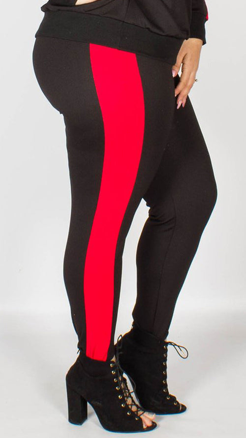Lucille Black Stirrup Lounge Trousers with Red Stripe