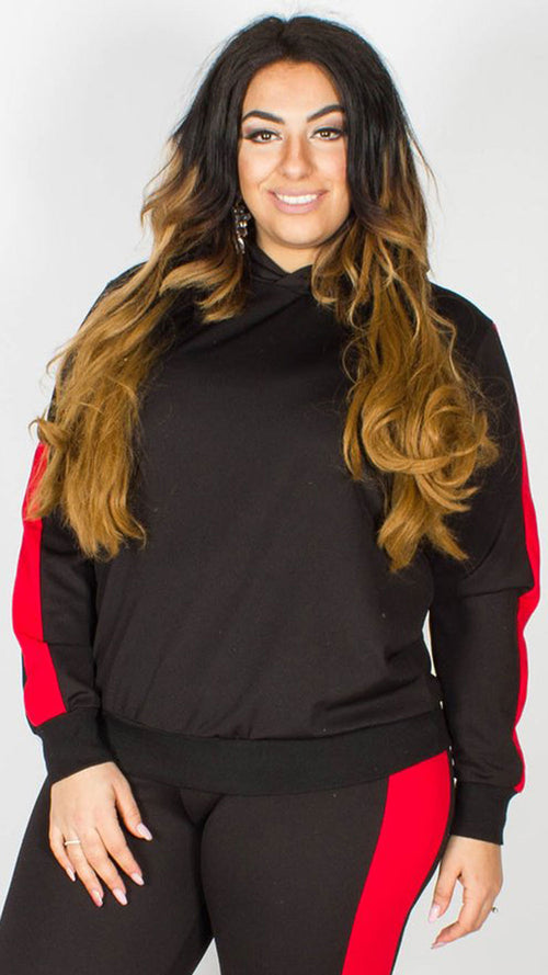 Lucille Black Lounge Hooded Top with Red Stripe