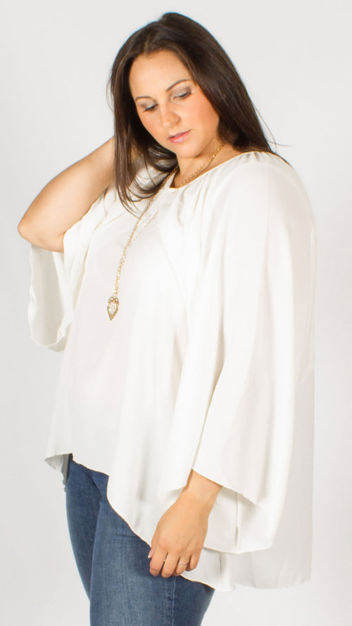 Cream Heart Necklace Tunic Top
