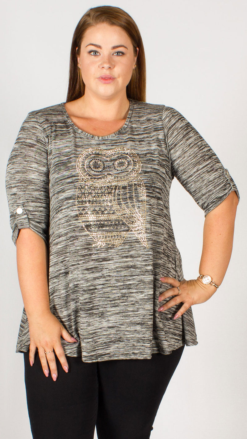 Patras Owl Diamante Charcoal Top