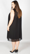 Billie Chiffon Style Necklace Detail Black Swing Dress
