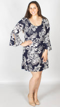 Marie Navy Bell Sleeve Dress