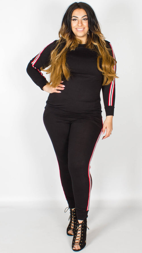 Yasmin Black Lounge Tracksuit Bottoms with Red and White Stripes
