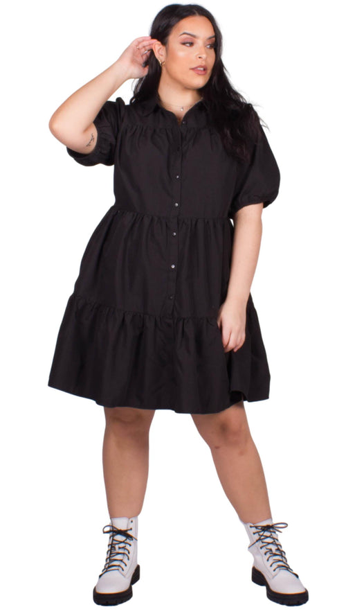 CurveWow Tiered Smock Dress Black