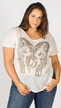 Raglan Sleeve Indie Metallic Elephant Print Top White