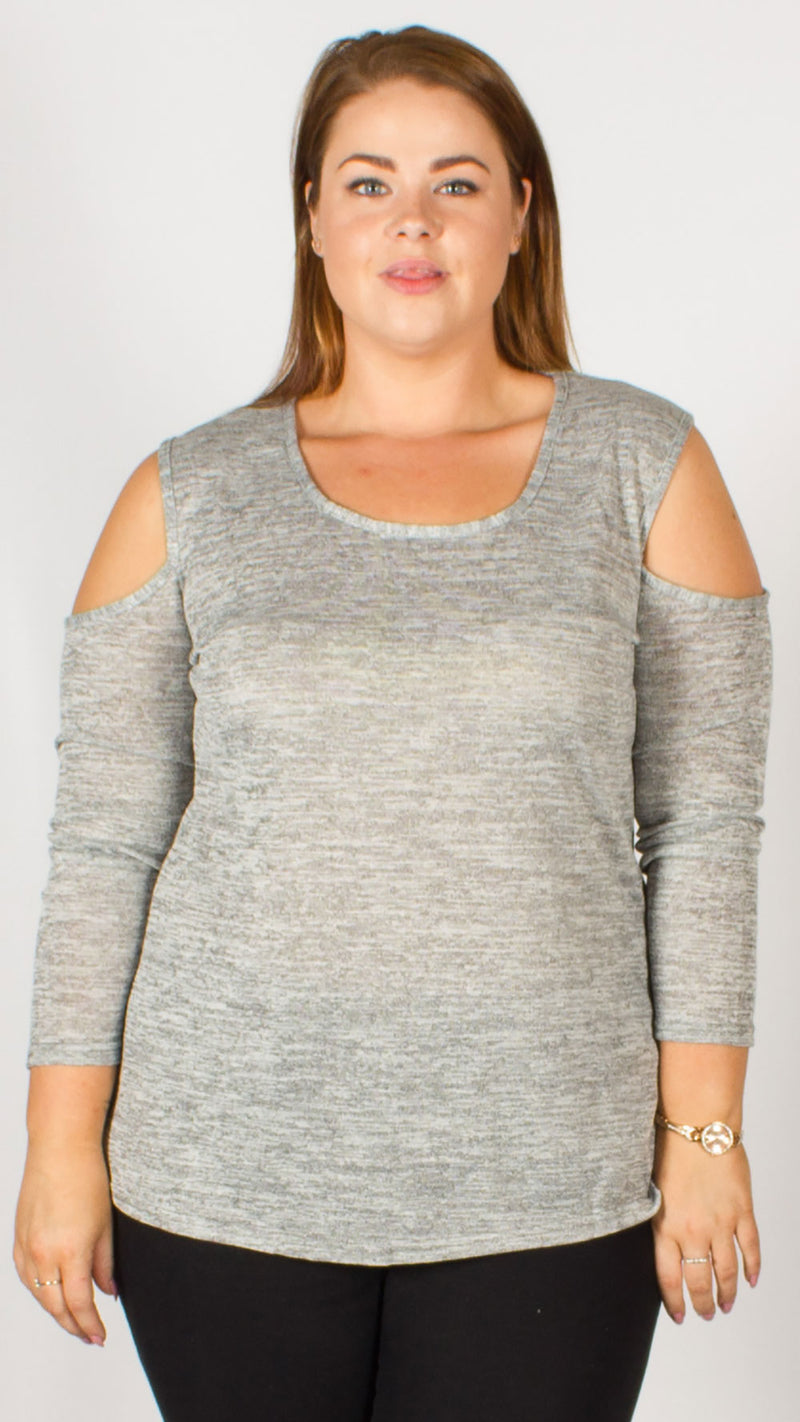 Aurora Cold Shoulder Soft Knitted Top Grey