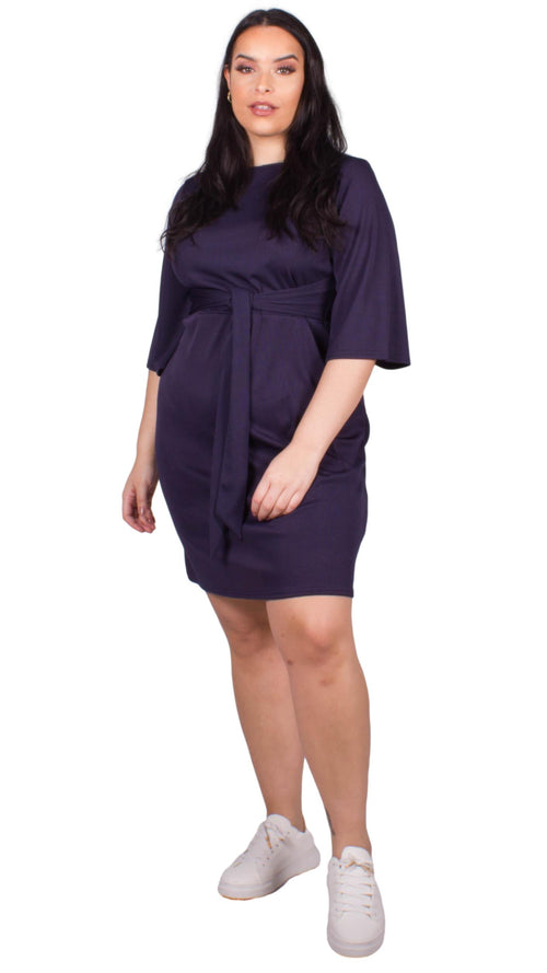 CurveWow Navy Ribbed Belted Skater Dress