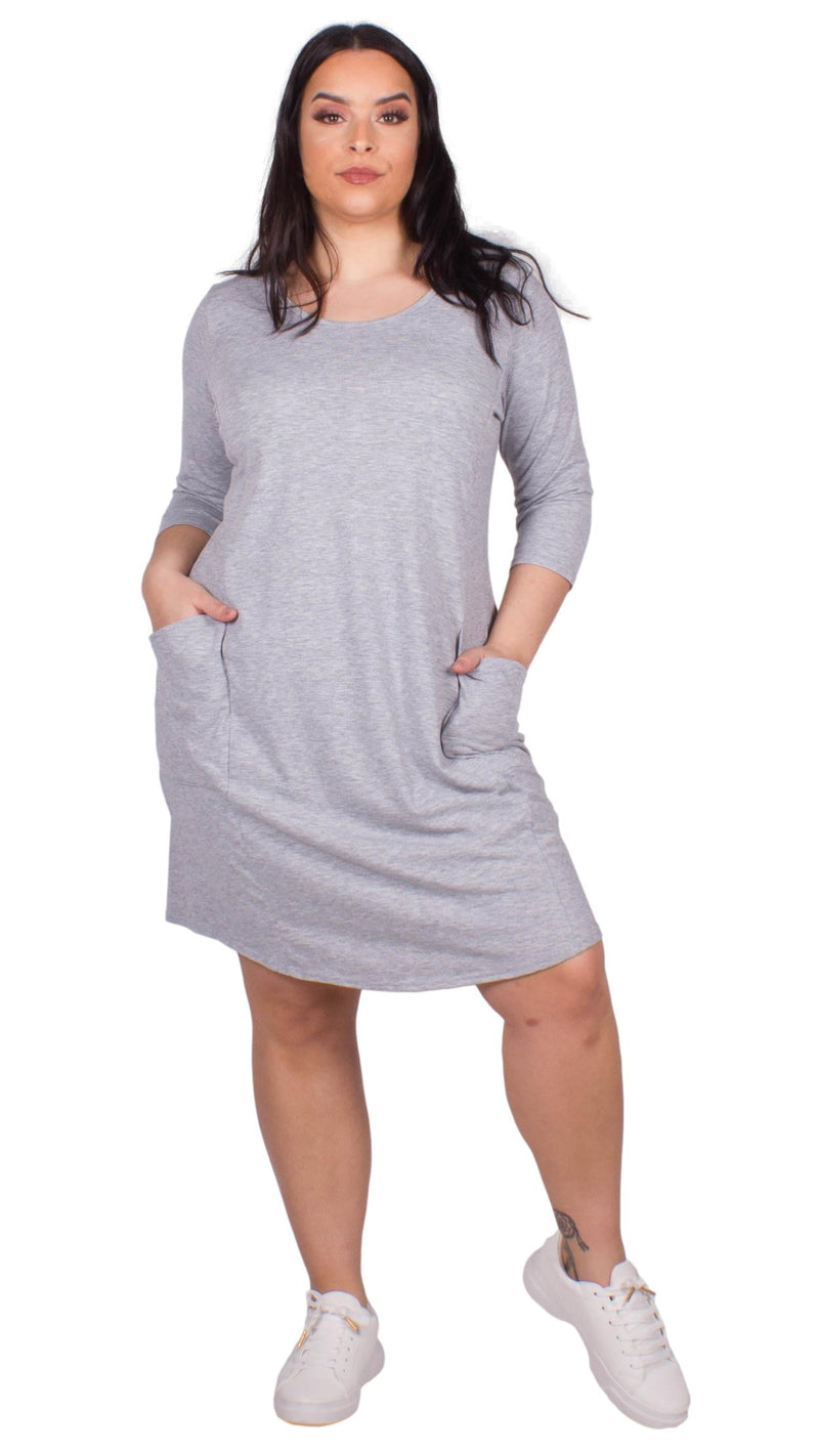 CurveWow Grey Marl Drape Pocket Dress