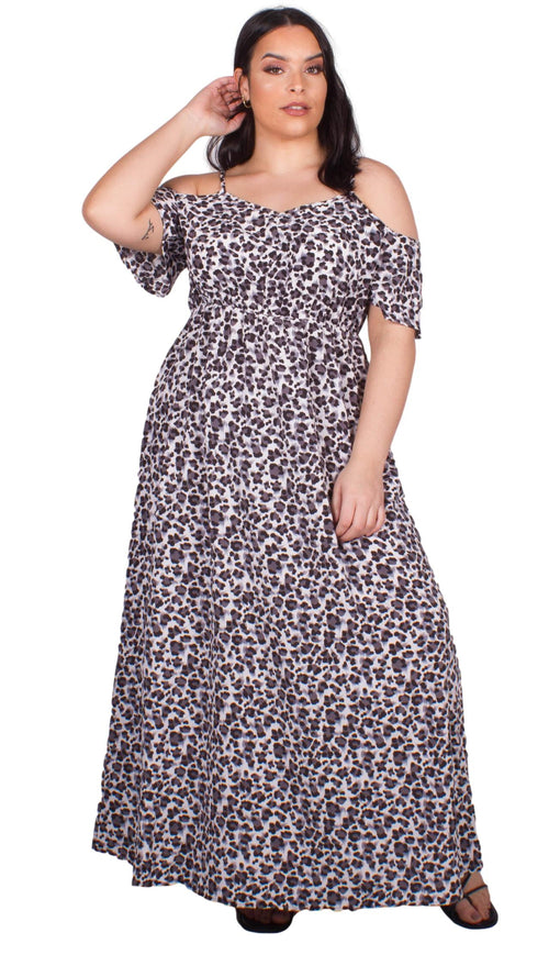 CurveWow Frill Sleeve Maxi Dress Animal Print Grey