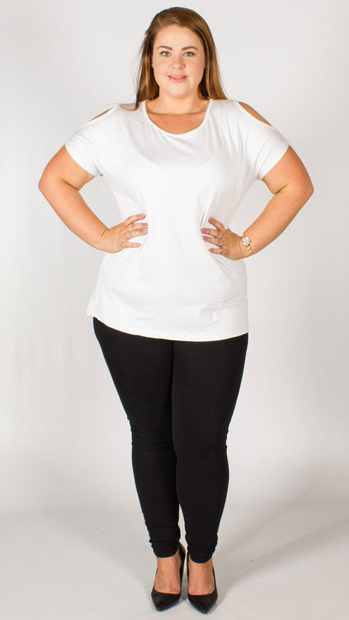 White Cold Shoulder Plain T-Shirt Top