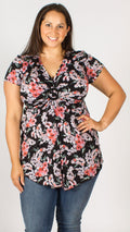Black Floral Print Brooch Tunic Top