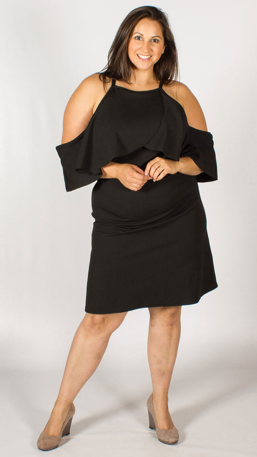 Catalina Black Cold Shoulder Bardot Dress