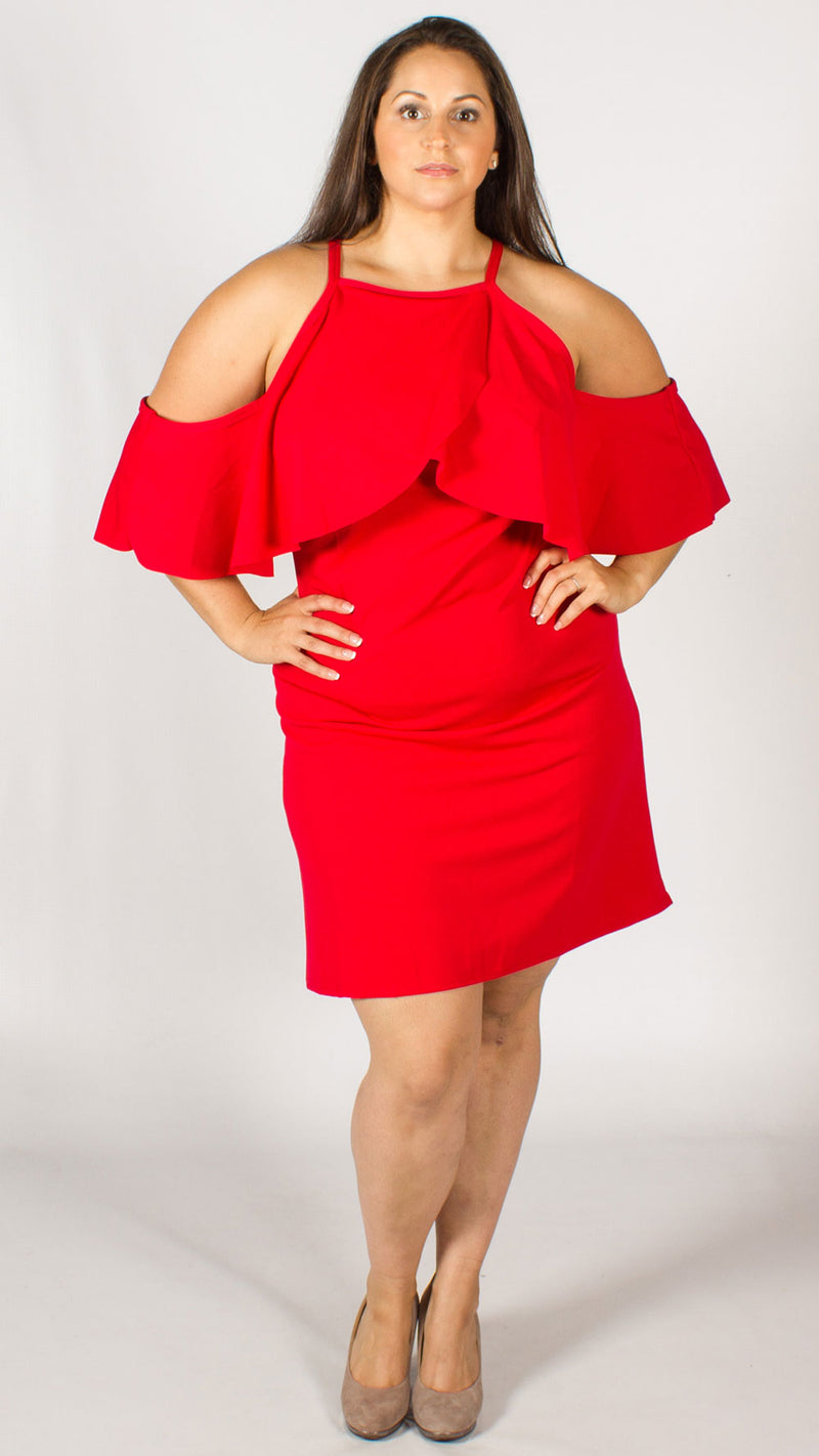 Catalina Red Cold Shoulder Frill Dress