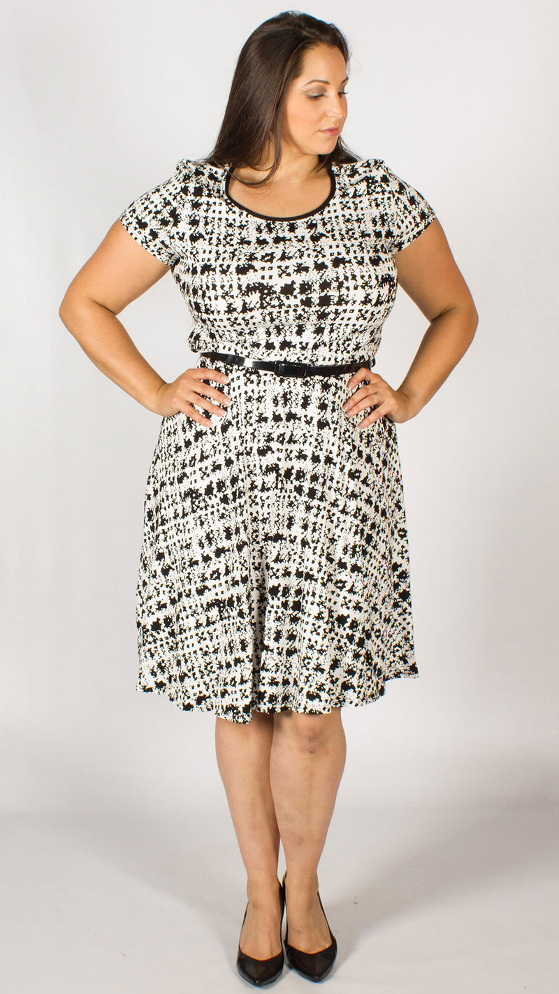 Luxor Black/White Dogtooth Skater Dress