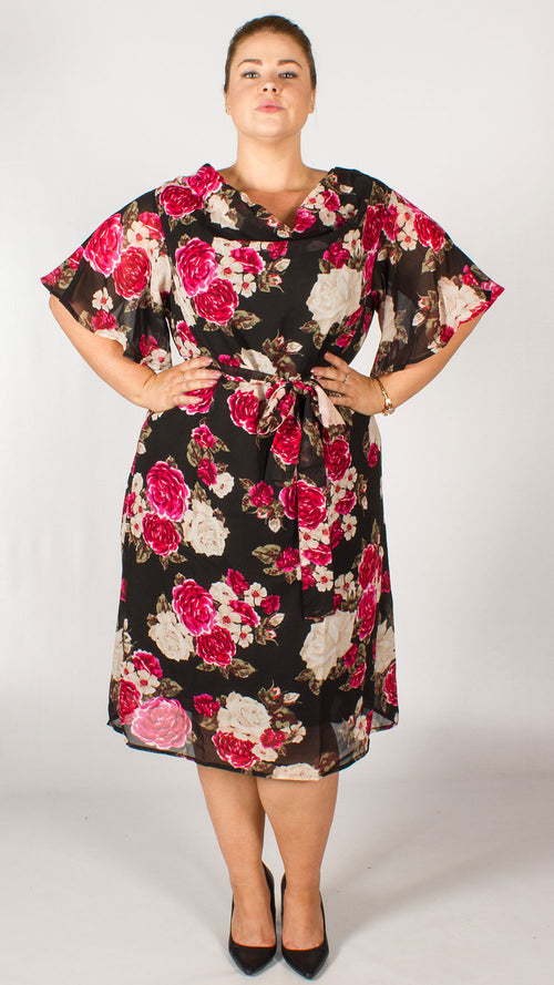 Petra Black Floral Printed Midi Dress with Belt
