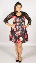 Eibar Floral Choker Lace Skater Dress