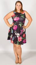 Aaliyah Black Floral Skater Dress