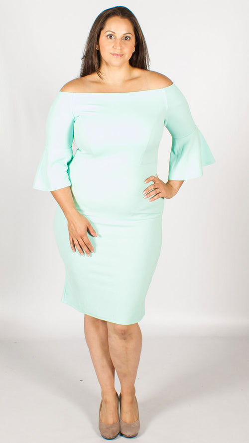 Toronto Off the Shoulder Trumpet Sleeve Midi Dress Aqua