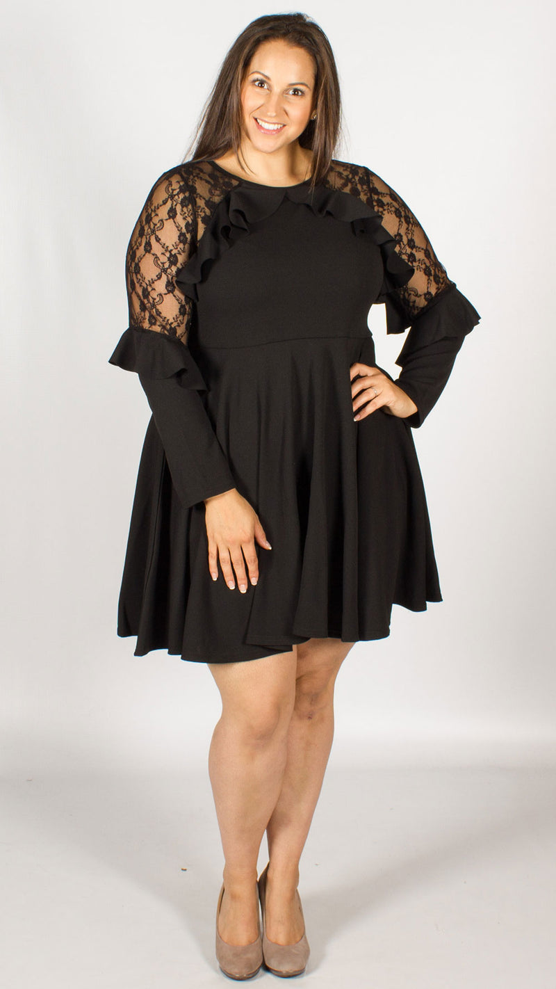 Lagos Black Lace Flare Sleeve Dress