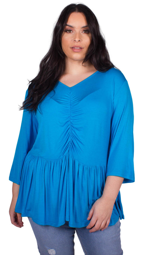 CurveWow Ruched Peplum Top Blue