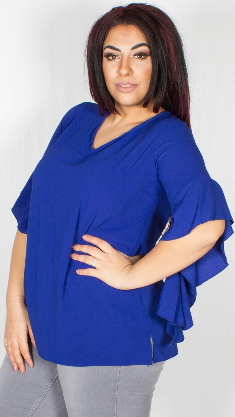 Linda Tie Back Frill Sleeve Blue Blouse
