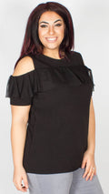 Elizabeth Black Cold Shoulder Frill Detailed Top