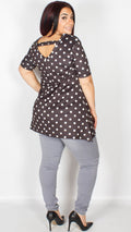 Sofia Black and White Spotty Print Short Sleeve Swing Top