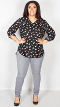 Brooke Black Bird Print Tab Sleeve Blouse Top