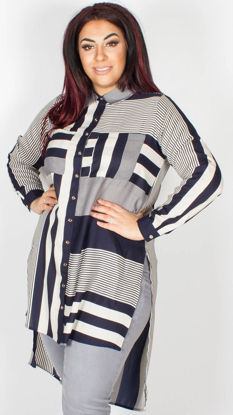 Abigail Navy and Ivory Stripe Panel Shirt