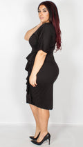 Angelina Jet Black Pencil Dress