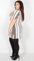 Gabriella Cream Orange Black Stripe Belted Tunic
