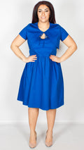 Liana Royal Blue Swing Dress and Bolero Set