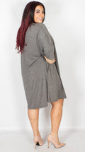 Boise Grey Dress With Three-Quarter Sleeves