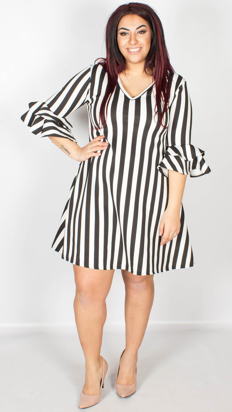 Kayley Black/ White Stripe Swing Dress