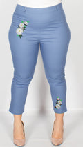 Patricia Pale Blue Floral Embroidered Cotton Trousers